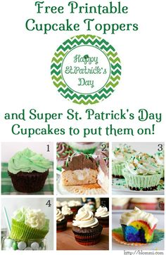 St Patricks Day Cupcakes Collection & Free Printable Topper