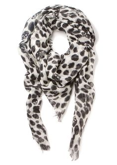 Alexander McQueen Scarves :: Alexander McQueen black and white leopard and skull printed scarf | Montaigne Market