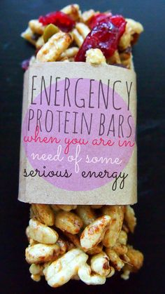 Energency Protein Bars: When You Are in Need of Some Serious Energy! (no baking required and made with six clean vegan ingredients) Nutrition Per Bar: 80 Calories, 10 g Carbs, 2 g Fat, 6 g Protein, 2 g Fiber, 7 g Sugar. This batch makes 32 bars for only $0.47 each!
