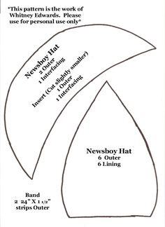 Whitney Sews: Newsboy Hat Pattern and link to great you tube video how to.