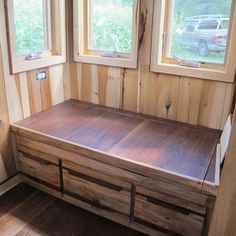 The window seat has three drawers below for storage and the seat lifts up for keeping blankets or other flat items.     -  To connect with us, and our community of people from Australia and around the world, learning how to live large in small places, visit us at www.Facebook.com/TinyHousesAustralia