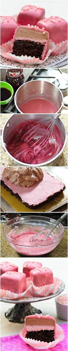Chocolate Pomegranate Petit Fours Recipe.