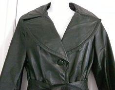 Vintage Full Length Dark Green Leather Coat with zip by oldandnew8, $38.00