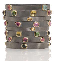 22K gold  blackened silver gemstone bangles...pile them on!