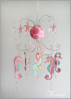 Mermaid Chandelier by fischtaledesigns on Etsy///this shop has sweet and whimsical mobiles for babies!!
