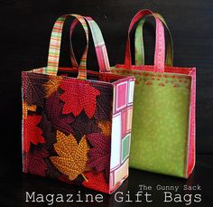 Magazine & Paper Gift Bags - DIY Tutorial.  Use up your old magazines for this great idea!  Make smaller versions as 'party bags' for your guests...