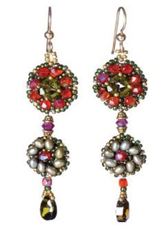 Create these stunning earrings using bead-weaving techniques