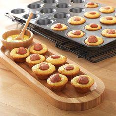 Mini Corn Dog Bites: corn bread mix divided into mini cupcake pans & bite size hot dogs