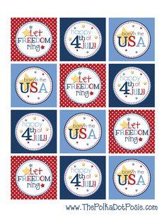 "Cute 4th of July Printable 2"" Tags tags, polka dots, free 4th, printabl treat, juli printabl, 4th of july, free printabl, treat tag, cupcake toppers"