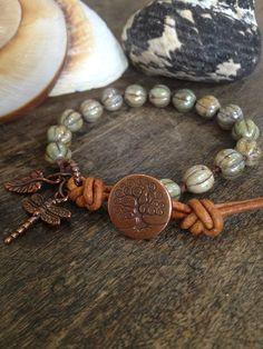 "Tree of Life, Copper Dragonfly Leather Wrap Bracelet ""Bohemian Boho Chic"""