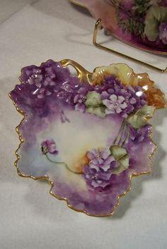 Limoges violet leaf dish