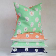 SAMPLE SALE Masks cushion - peppermint or coral £25 each. By Hazel Stark