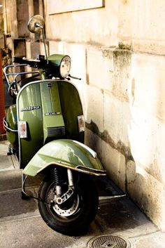 Green Vespa in Paris France