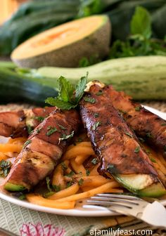 Prosciutto Wrapped Zucchini Over Melon Pasta - A simple, fresh and delicious summertime meal!