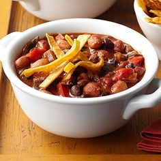 Chipotle-Black Bean Chili: Inspired by traditional Mexican mole, this hearty vegetarian chili includes a touch of chocolate to add depth. Chipotle peppers in adobo sauce give a rich smokiness to the dish.