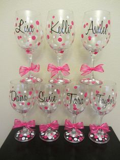 bachelorette party glasses | ... glasses- great for the wedding party, shower or bachelorette party...CUTE!