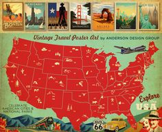 vintage travel posters. anderson design group