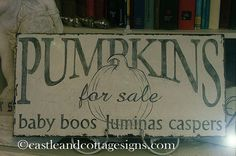 Vintage sign White pumkins for sale by castleandcottage on Etsy, $48.00