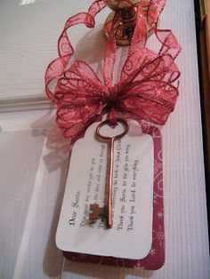 Dear Santa,  This magic key works just for you,  Please open the door and come on through.  Thank you for coming to our house tonight.  We are celebrating the birth of Jesus Christ.  Thank you, Santa, for the gifts you bring.  Thank you, Lord, for everything.