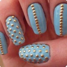 Nail Art // baby #blue #nails with #gold #studs #mani #nailart