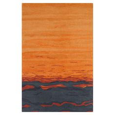 Hand-tufted wool rug with a multicolor sunset motif and cotton backing.  5 x 7.6 $201