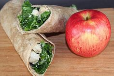 Kale Chicken Caesar Wrap: Get your green on by bringing some kale to your standard chicken Caesar wrap recipe.