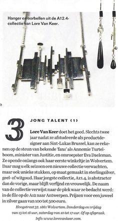 Lore Van Keer Jewellery Design - http://lorevankeer.com/pers/weekend-knack-dec-2012/