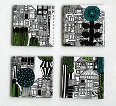 Ceramic Tile Coasters Marimekko City Graphical Black von Tilissimo, $25.00