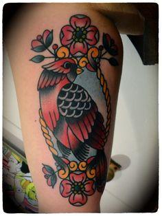 cardinal & flowers by ashley love #calf #tattoos