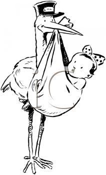 iCLIPART - Royalty Free Clipart Imge of a Stork With a Baby Girl