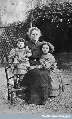 Portrait of Marie Skłodowska-Curie, and her two daughters, Eve and Irene, in 1908
