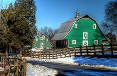 Gorgeous green barn.