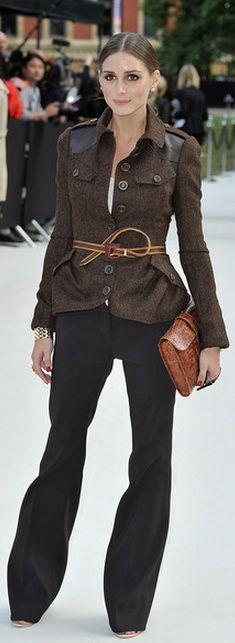 Olivia wears Burberry