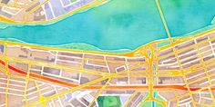 Watercolor map of boston