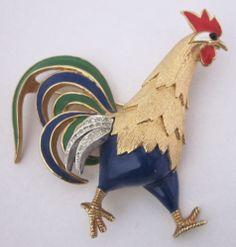 Vintage Enamel Rhinestone Rooster Brooch Jomaz | eBay