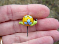 Fairy Garden Accessories - miniature yellow snail with blu flowers