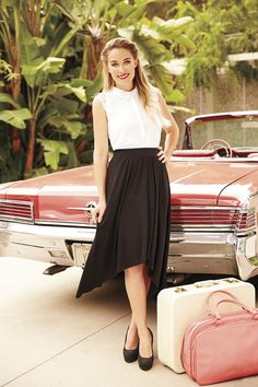 A high-low skirt with a sleeveless button- up give off a fun vintage vibe. LC Lauren Conrad at #Kohls #tbt