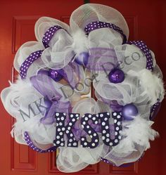 K-State Wreath, KSU Wildcats, Kansas State University Wreath,. $85.00, via Etsy.