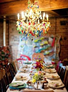 colorful chandelier  #inspiration #entertaining #color #crystal