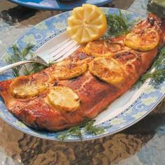 Lemon Grilled Salmon.  This is the BEST salmon recipe I have ever had.  Haven't found one better yet.