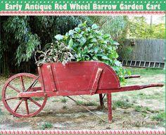 Antique Red Wheel Barrow Garden Cart