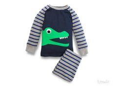 toddler boy pajama, kids pyjama, boys PJ dark blue appliqué crocodile, made of organic cotton, kids sleepwear long sleeved, made in Germany on Etsy, $88.69