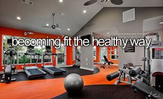 Idea for colors in basement workout room...orange, black, and grey w/white...could be fun!