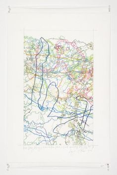 INGRID CALAME  #243 Drawing (Tracings up to the L.A. River placed in the Clark Telescope Dome, Lowell Observatory, Flagstaff, AZ), 2006  Color pencil on trace mylar  26 X 18 inches