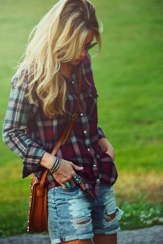 distressed shorts, jean shorts, flannel top, summer outfits, fall outfits, cross body bags, plaid shirts, denim shorts, hair