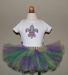 Mardi Gras Tutu Set For Baby Or Toddler Choose by SillyFrillyGirls, $29.99
