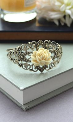 Vintage Style, Floral Filigree, Ivory Rose Flower Adjustable Cuff Bracelet. Bridesmaid Gifts by Marolsha.