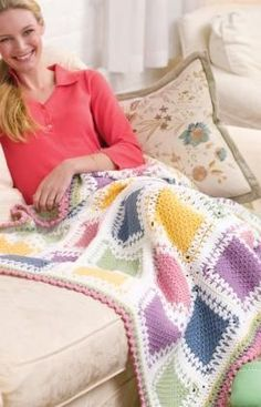Tunisian Color Block Throw Crochet Pattern