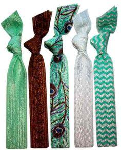Peacock Hair Tie  5 Pack