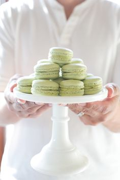 #cookies, #macarons, #recipe, #easter, #cake-stands, #green, #dessert, #spring, #light-green  Photography: Matthew Land Studios - www.matthewland.com  View entire slideshow: 15 Mouthwatering Wedding Desserts on http://www.stylemepretty.com/collection/341/